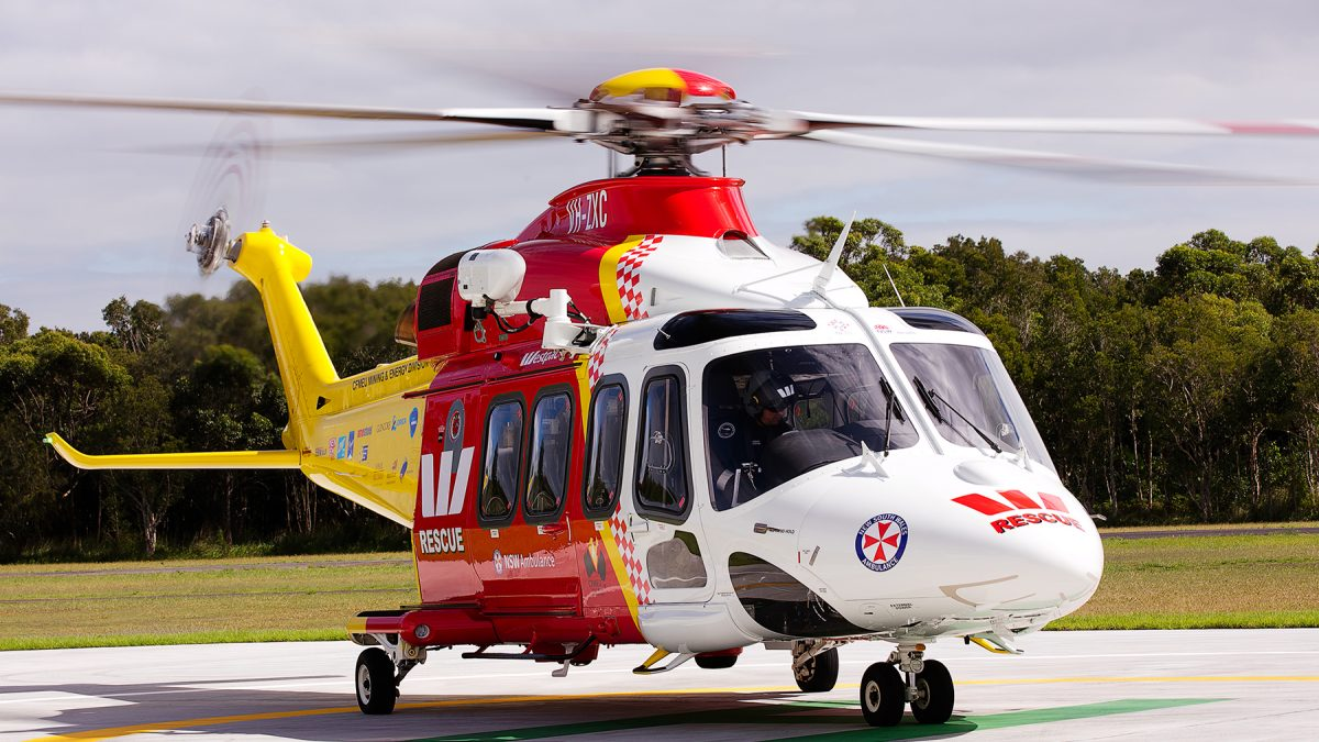 westpac rescue helicopter on landing pad