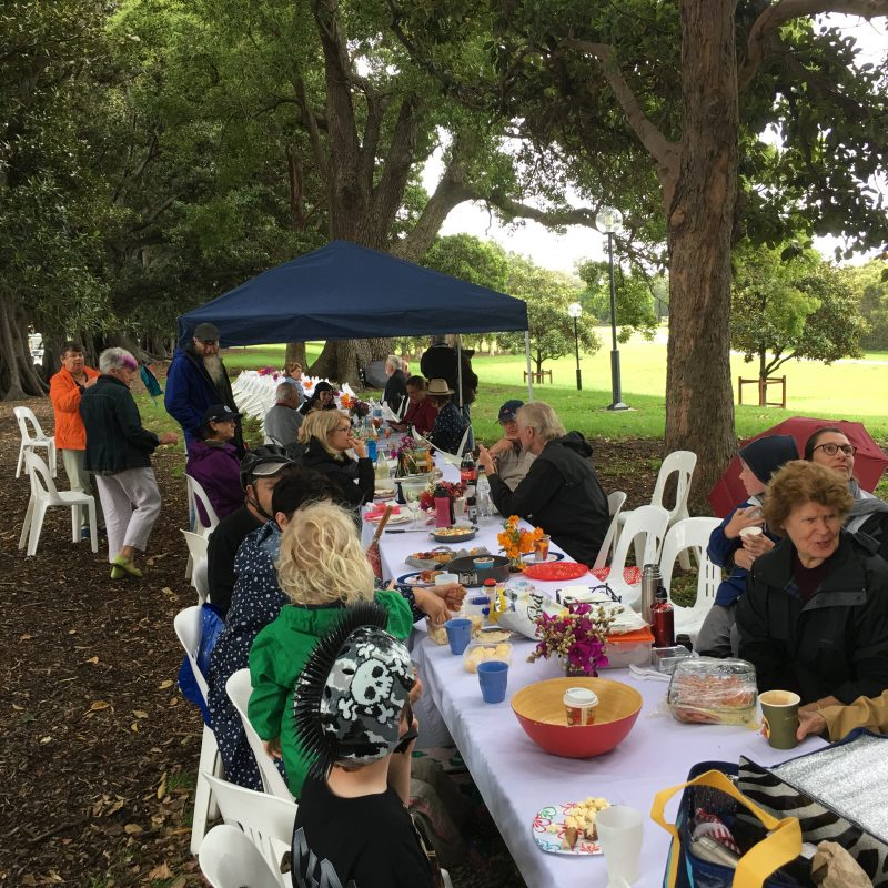 Portside Community groups Sitting along table for Throsby Big Brunch