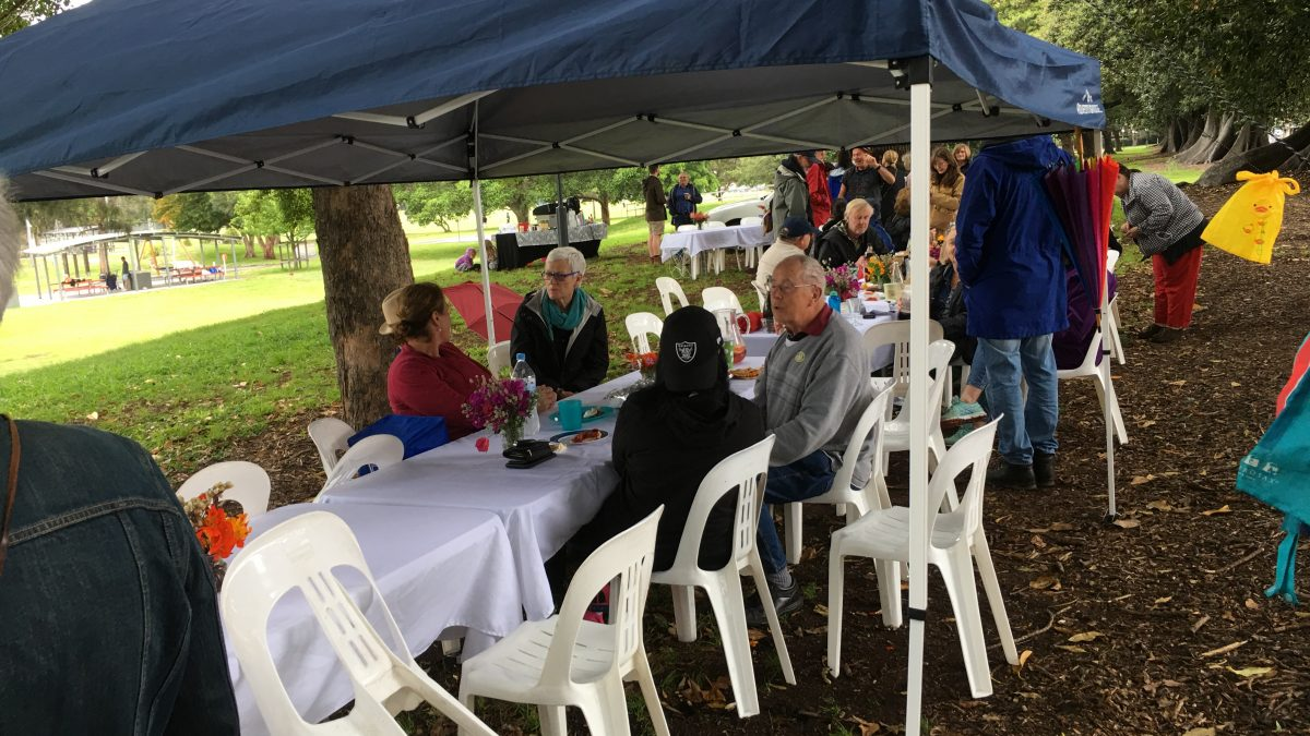 Portside Community groups gathering along table for Throsby Big Brunch