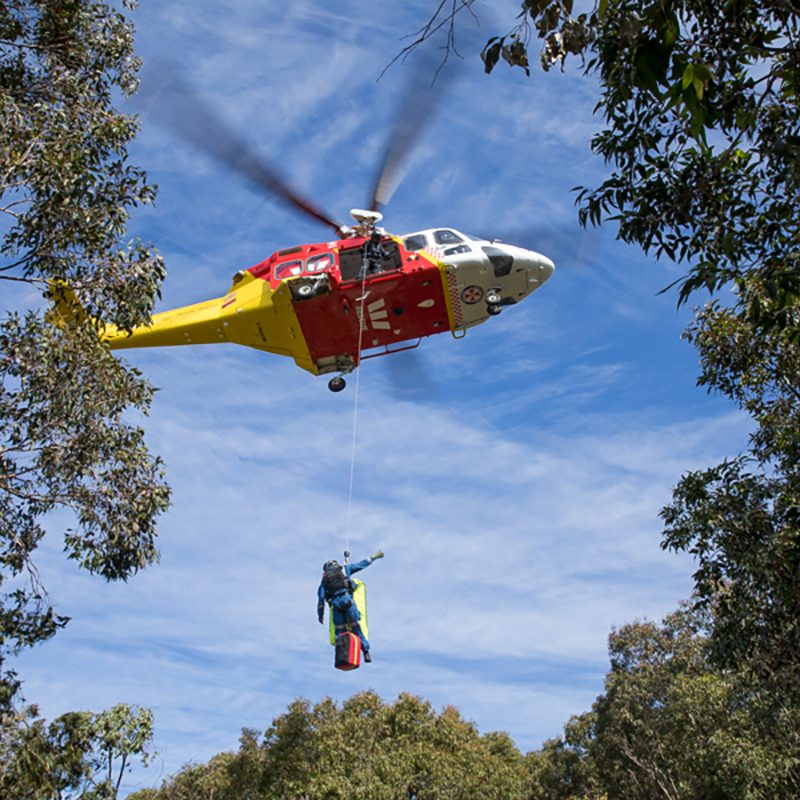 Westpack Rescue Helicopter pulls a rescuer up