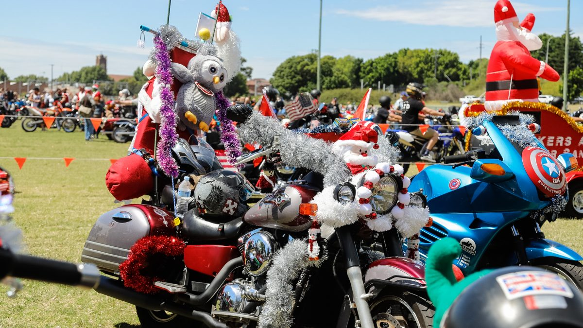Decorated motorbikes for Salvation Army Toy Run Newcastle