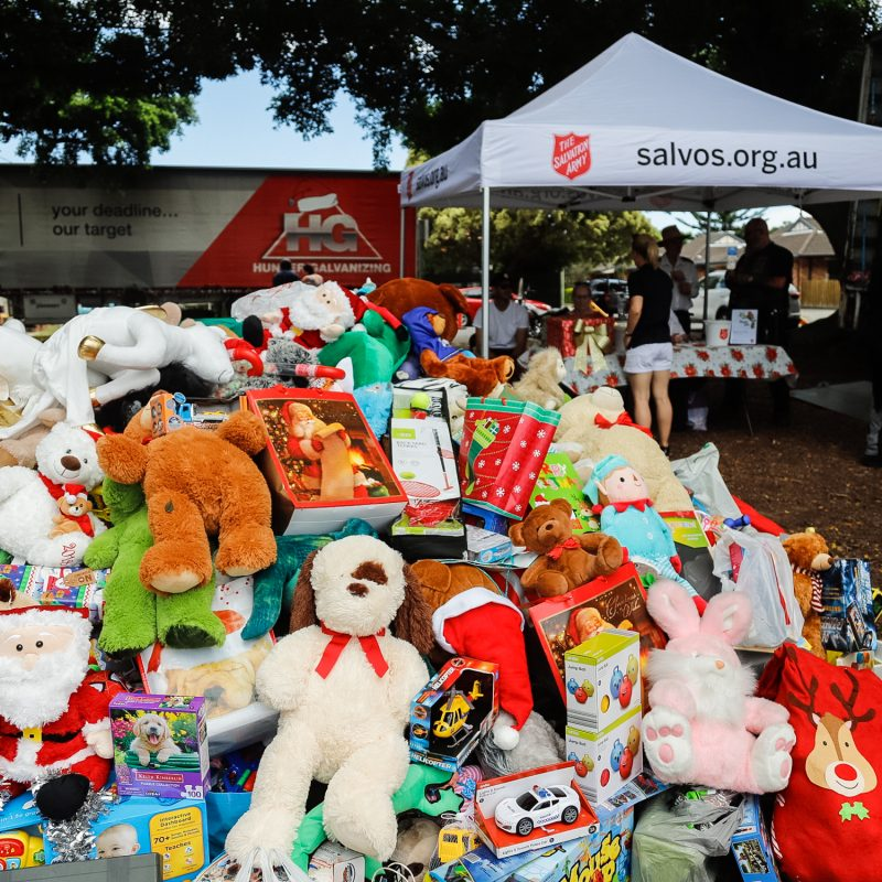 Pile of toys at Toy Run Newcastle for Salvation Army