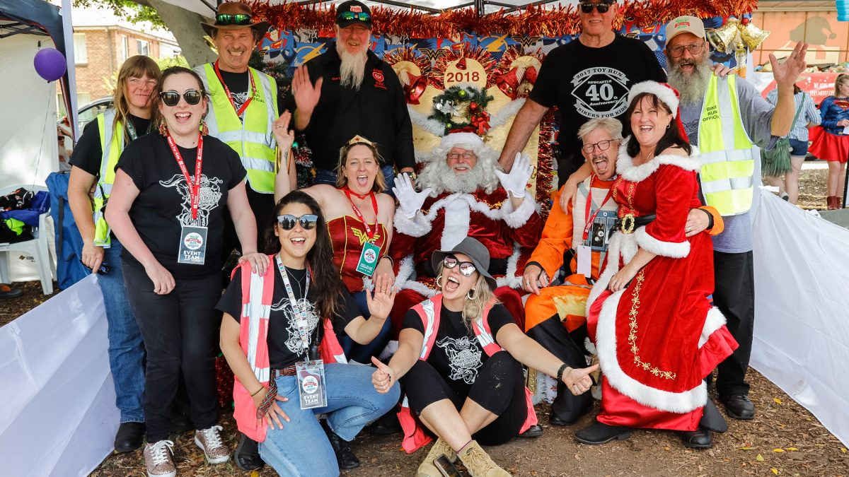 Group shot at event for Salvation Army Toy Run Newcastle