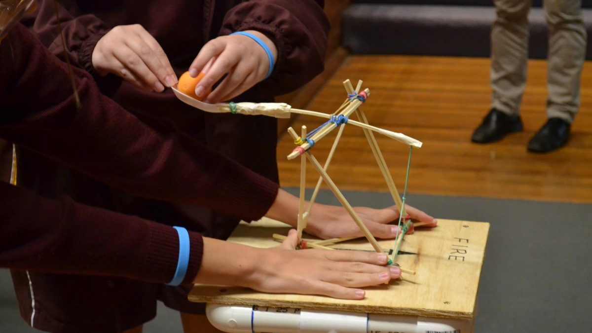 Uon Science and Engineering challenge students with makeshift catapult
